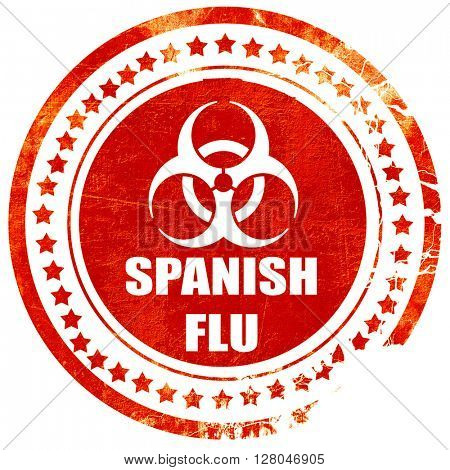 Spanish flu concept background, grunge red rubber stamp  on a solid white background