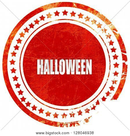 halloween, grunge red rubber stamp on a solid white background