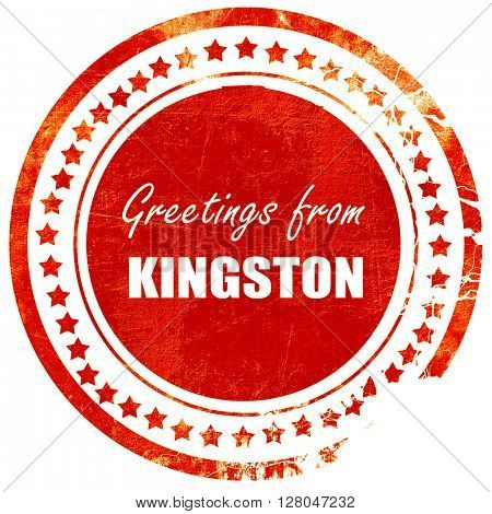 Greetings from kingston, grunge red rubber stamp  on a solid white background