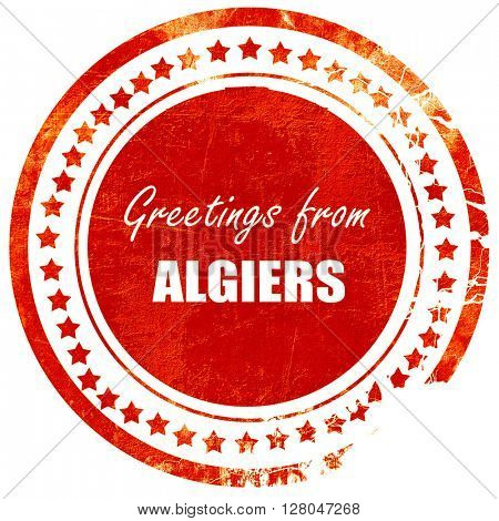 Greetings from algiers, grunge red rubber stamp  on a solid white background