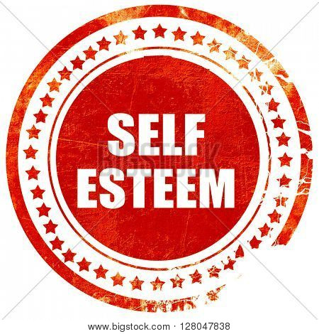 self esteem, grunge red rubber stamp on a solid white background