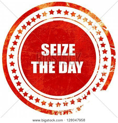 seize the day, grunge red rubber stamp on a solid white background