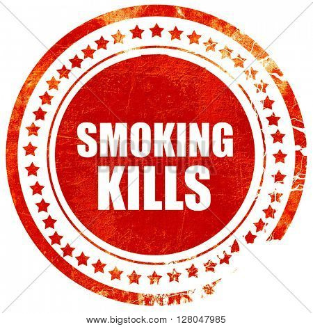 smoking kills, grunge red rubber stamp on a solid white background