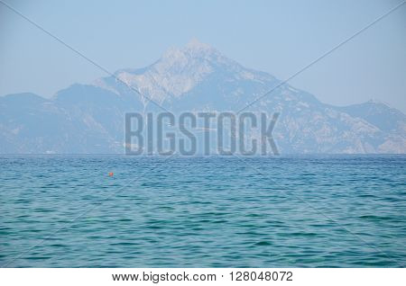 Athos mountain seen from beautiful Sithonia peninsula