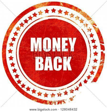 money back sign, grunge red rubber stamp on a solid white background