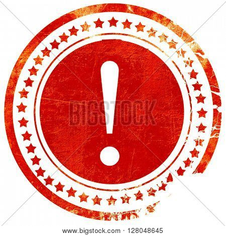 Hazard warning sign, grunge red rubber stamp on a solid white background