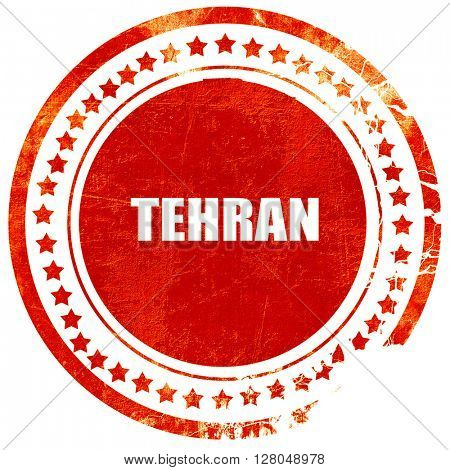 tehran, grunge red rubber stamp on a solid white background