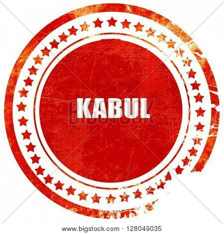 kabul, grunge red rubber stamp on a solid white background