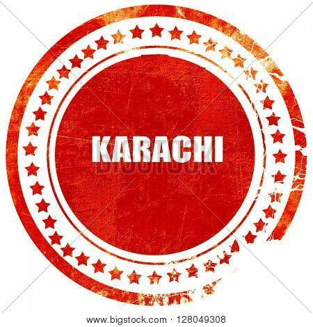 karachi, grunge red rubber stamp on a solid white background