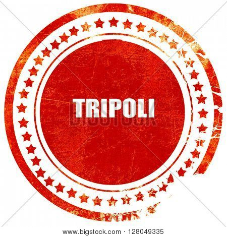 tripoli, grunge red rubber stamp on a solid white background