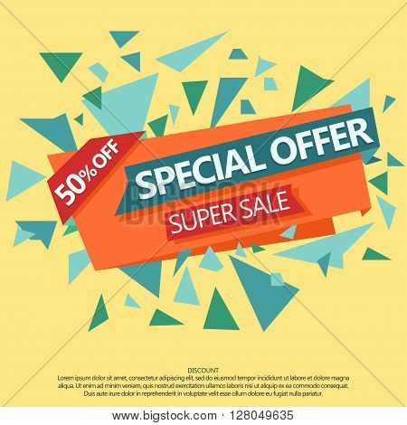 Super Sale special offer, 50 off paper banner. Web flyer concept. Special-sale price label. Discount tag vector sticker