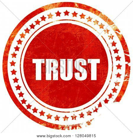 trust, grunge red rubber stamp on a solid white background