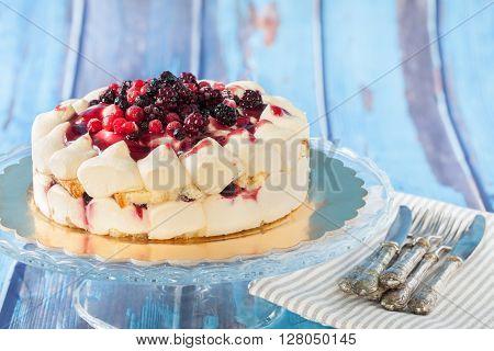 Tiramisu Cake With Red Fruits