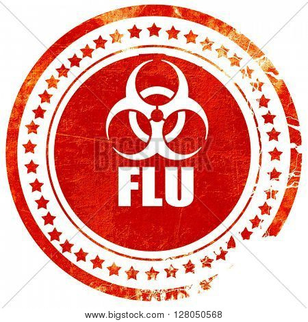 Influenza virus concept background, grunge red rubber stamp on a