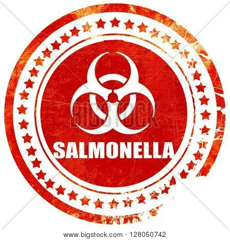 Salmonella concept background, grunge red rubber stamp on a soli