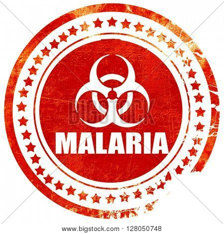 malaria concept background, grunge red rubber stamp on a solid w