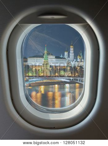 porthole and landmark Moscow Kremlin night view from the waterfront