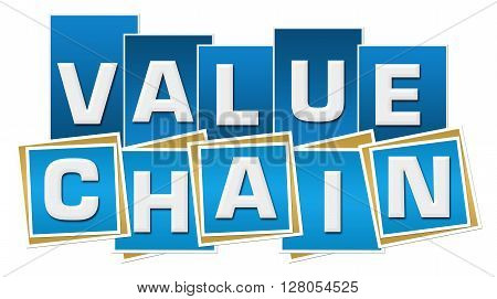 Value chain text written over blue background.