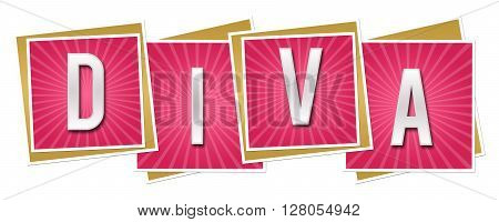 Diva text alphabets written over pink background.