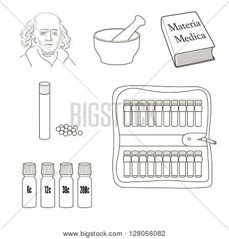Homeopathy. Set of vector icons. Homeopathic pills storage kit mortal pestle book Materia Madica bottles.