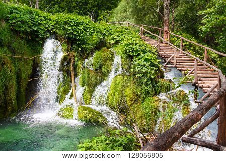 Wooden footpath in the Plitvice lakes. Croatia