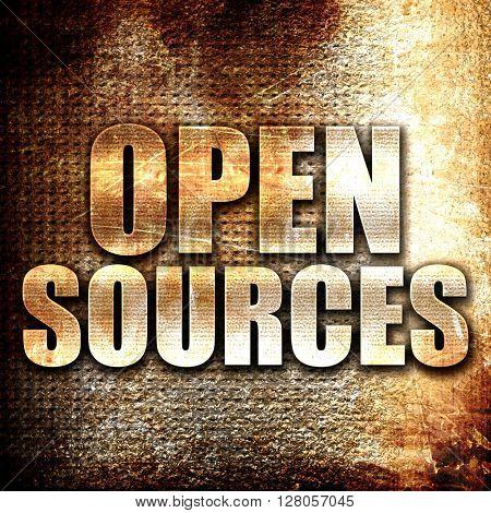open sources, written on vintage metal texture
