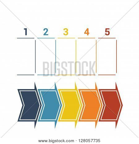 Timeline with colored horizontal arrows numbered for five position on white background