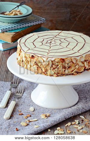 Homemade Esterhazy Cake on the cake stand