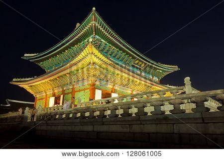 Seoul, South Korea - August 14, 2015: Gyeongbokgung Palace At Night -  Seoul, Republic Of Korea