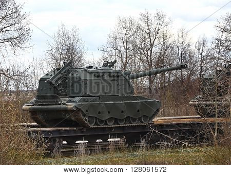 MOSCOW REGION - APRIL 22:   152 mm self-propelled howitzer on crawler tracks on a railway platform -  on April 22, 2016 in Moscow Region