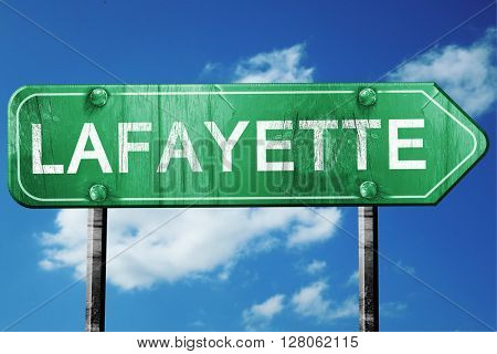 lafayette road sign , worn and damaged look