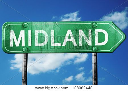 midland road sign , worn and damaged look