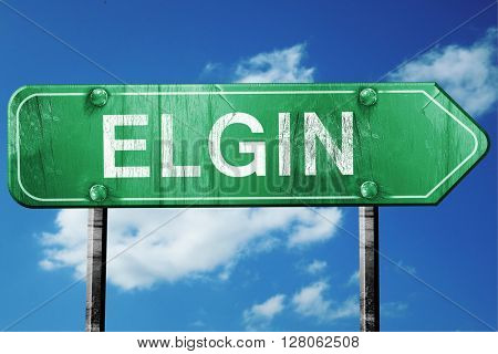 elgin road sign , worn and damaged look