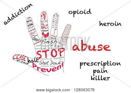 Outline of hand signalling stop with text opioid heroin pain kiiler addiction and abuse on white.