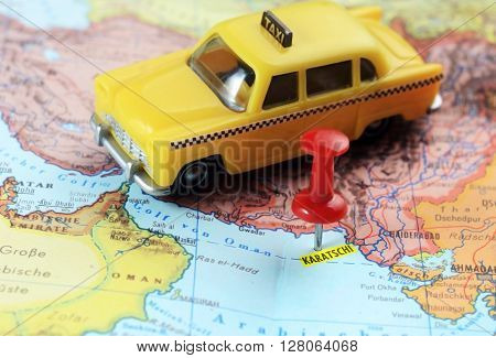 Karachi Pakistan Map Pin Taxi
