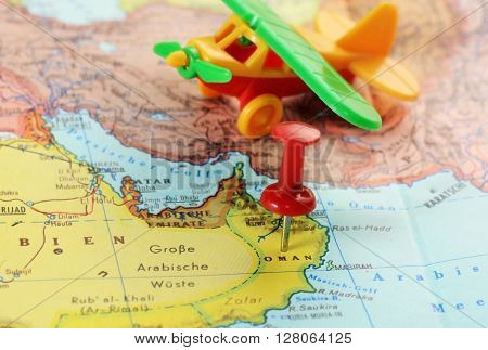Oman Map Pin Airplane
