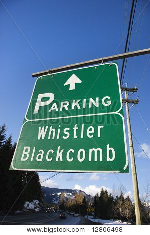 Signs for Whistler Blackcomb.