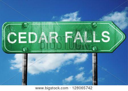 cedar falls road sign , worn and damaged look