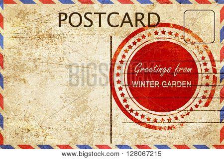 winter garden stamp on a vintage, old postcard