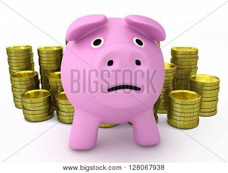 Financial despair and bankruptcy concept - sad piggy bank with golden coins on background