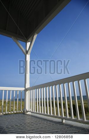 Porch facing beach on Bald Head Island, North Carolina.