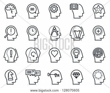 Human Head, Business And Motivation Icon Set