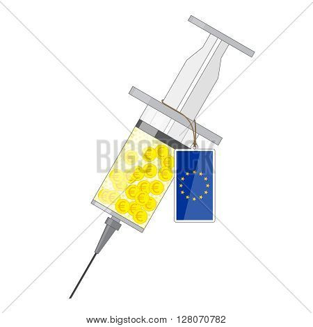 Syringe with yellow solution of gold coin with euro sign and label with flag of EU