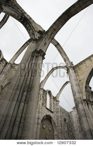 Open roof of Igreja do Carmo ruins in Lisbon, Portugal.