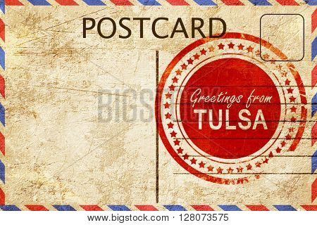tulsa stamp on a vintage, old postcard