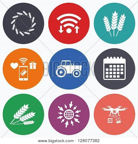 Wifi, mobile payments and drones icons. Agricultural icons. Wheat corn or Gluten free signs symbols. Tractor machinery. Calendar symbol.