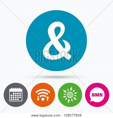 Wifi, Sms and calendar icons. Ampersand sign icon. Programming logical operator AND. Wedding invitation symbol. Go to web globe.