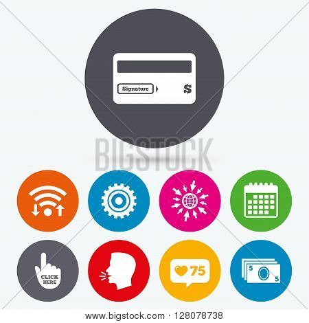 Wifi, like counter and calendar icons. ATM cash machine withdrawal icons. Insert bank card, click here and check PIN, processing and get cash symbols. Human talk, go to web.
