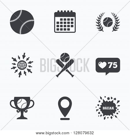 Calendar, like counter and go to web icons. Baseball sport icons. Ball with glove and two crosswise bats signs. Winner award cup symbol. Location pointer.
