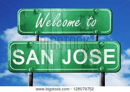 san jose vintage green road sign with blue sky background